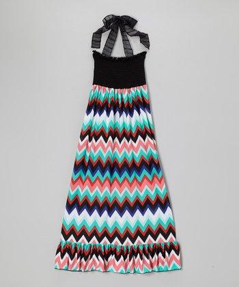Lori & Jane Black & Turquoise Zigzag Halter Maxi Dress