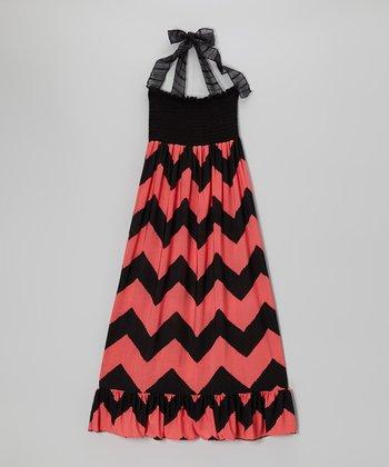 Lori & Jane Black & Coral Zigzag Maxi Dress