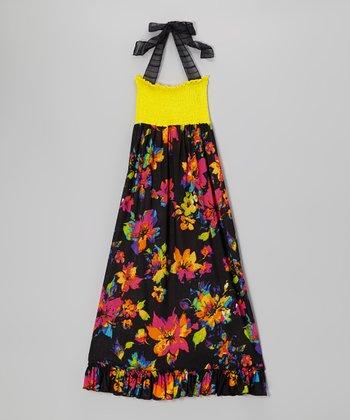 Lori & Jane Yellow & Black Floral Maxi Dress