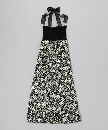 Lori & Jane Black & White Daisies Maxi Dress