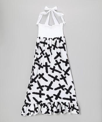 Lori & Jane Black & White Crosses Maxi Dress