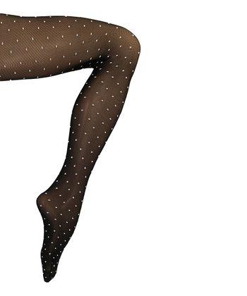 Black Sheer Dots Shaper Tights - Women
