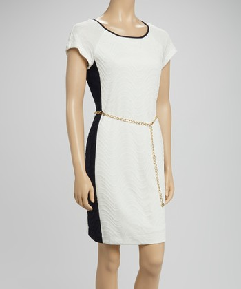 Sandra Darren Ivory & Navy Color Block Belted Dress