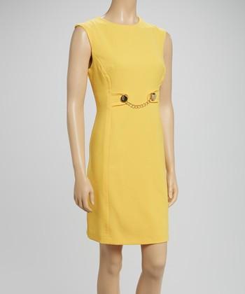 Sandra Darren Yellow Chain Sheath Dress