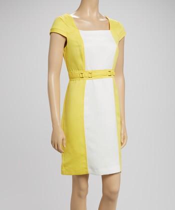 Sandra Darren White & Yellow Cap-Sleeve Sheath Dress
