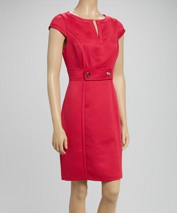 Sandra Darren Pink Cap-Sleeve Sheath Dress