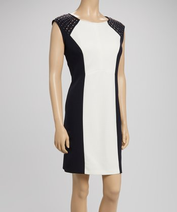 Ivory & Navy Studded Color Block Sheath Dress