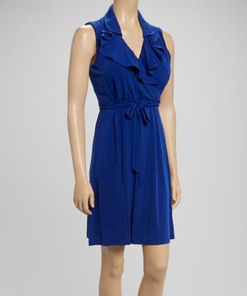 Sandra Darren Cobalt Ruffle Surplice Dress