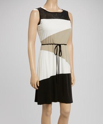 Sandra Darren Black & Beige Color Block Tie-Waist Dress