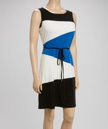 Sandra Darren Black & Princess Blue Color Block Tie-Waist Dress