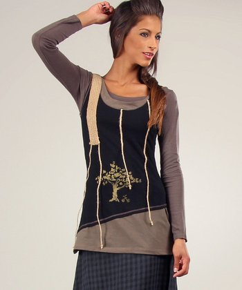 Black & Khaki Fiona Tank & Long-Sleeve Top