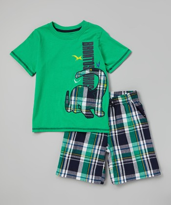 Green 'Brontosaurus' Tee & Plaid Shorts - Infant, Toddler & Boys