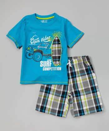 Hawaiian 'Wave Rider' Tee & Plaid Shorts - Infant, Toddler & Boys