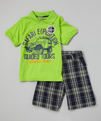 Salty Lime 'Safari' Polo & Plaid Shorts - Toddler & Boys