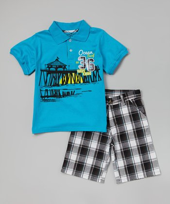 Hawaiian 'Ocean' Polo & Plaid Shorts - Infant, Toddler & Boys