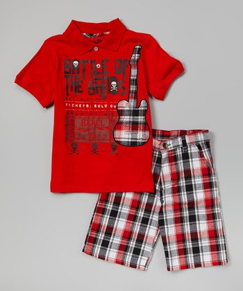 Fire Engine Red 'Bands' Polo & Plaid Shorts - Toddler & Boys