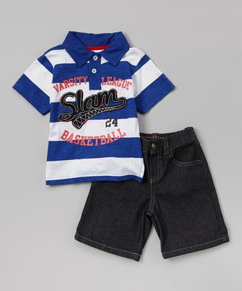 White & Blue Stripe 'Slam' Polo & Denim Shorts - Infant