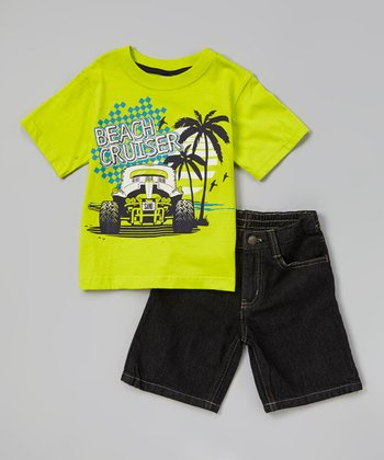 Green 'Beach Cruiser' Tee & Denim Shorts - Infant & Toddler