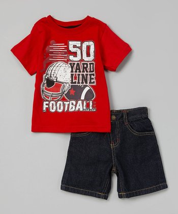 Red 'Football' Tee & Denim Shorts - Infant