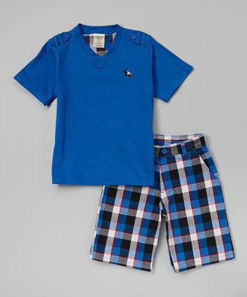 Royal V-Neck Tee & Plaid Shorts - Toddler & Boys