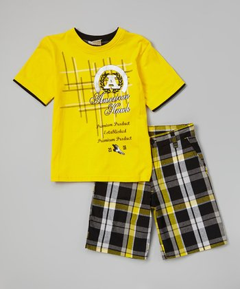 Lemon 'Hawk' Tee & Plaid Shorts - Infant, Toddler & Boys