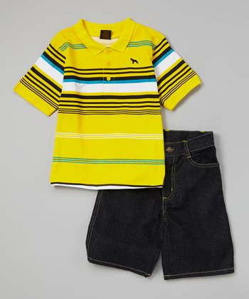 Lemon Stripe Polo & Denim Shorts - Infant, Toddler & Boys