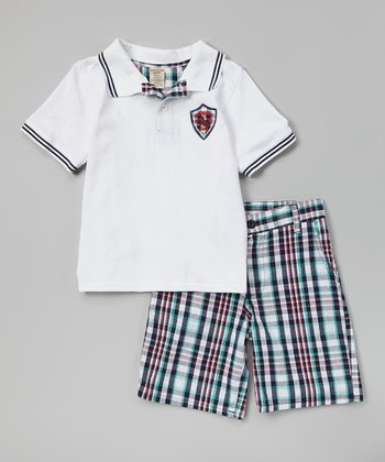 White Polo & Plaid Shorts - Infant, Toddler & Boys