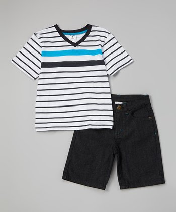 White Stripe V-Neck Tee & Denim Shorts - Infant, Toddler & Boys