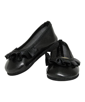 Black Ruffle Doll Flats