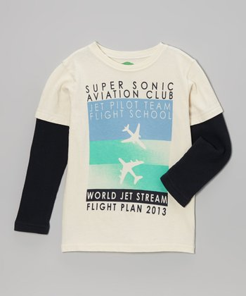 Blue & White 'Super Sonic' Organic Tee - Toddler & Boys