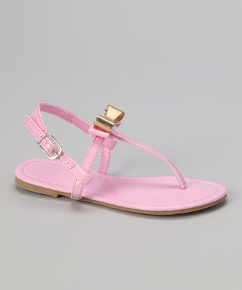 Light Pink & Gold Patent T-Strap Sandal