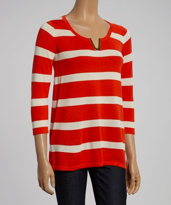 Mango & Cream Stripe V-Neck Sweater