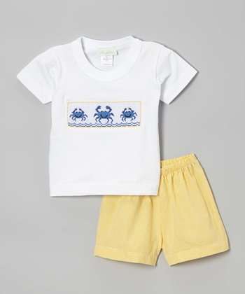 White Crab Smocked Tee & Yellow Shorts - Infant, Toddler & Boys