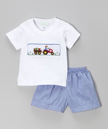 White Tractor Tee & Royal Blue Shorts - Infant, Toddler & Boys