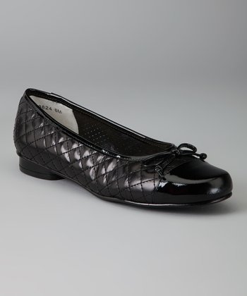 Black Leather Stormy Flat