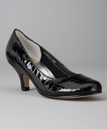 Black Leather Crocodile Print Attack Pump
