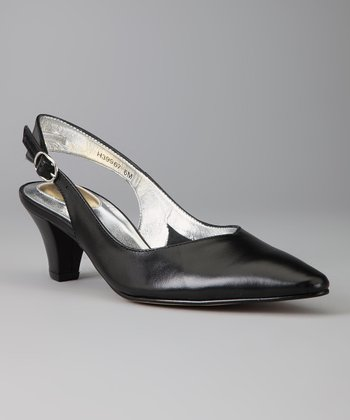 Black Leather Annette Slingback