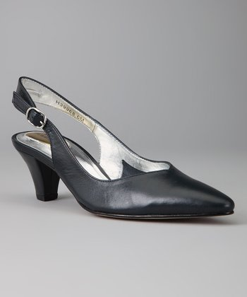 Navy Leather Annette Slingback