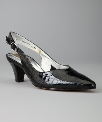 Black Leather Crocodile Print Annette Slingback