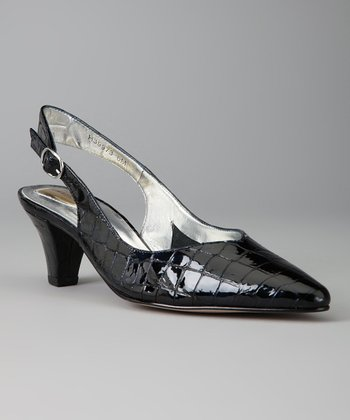 Navy Leather Crocodile Print Annette Slingback