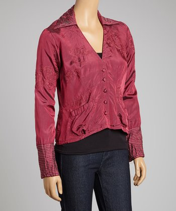 Hot Pink Iridescent Rose Embroidered Blazer - Women & Plus