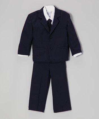 ClassyKidzShop Navy Blue & White Five-Piece Suit - Infant, Toddler & Boys