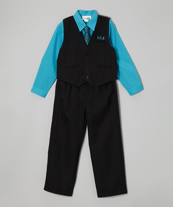 ClassyKidzShop Turquoise & Black Checkerboard Vest Set - Infant, Toddler & Boys