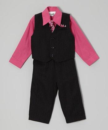 ClassyKidzShop Fuchsia & Black Stripe Vest Set - Infant, Toddler & Boys