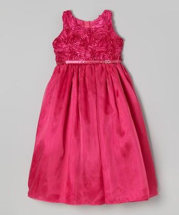 ClassyKidzShop Fuchsia Rosette Belted Dress - Toddler & Girls