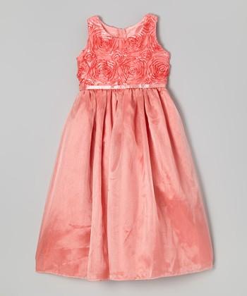 ClassyKidzShop Coral Rosette Belted Dress - Toddler & Girls