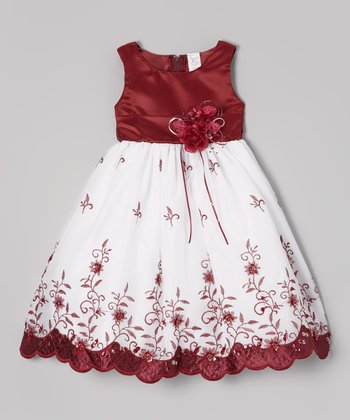 Burgundy & White Floral Embroidered Dress - Toddler & Girls