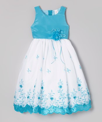 ClassyKidzShop Turquoise & White Floral Embroidered Dress - Toddler & Girls