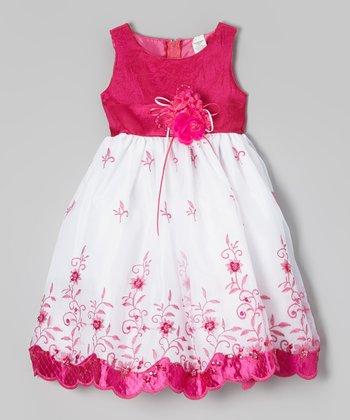ClassyKidzShop Fuchsia & White Floral Embroidered Dress - Toddler & Girls