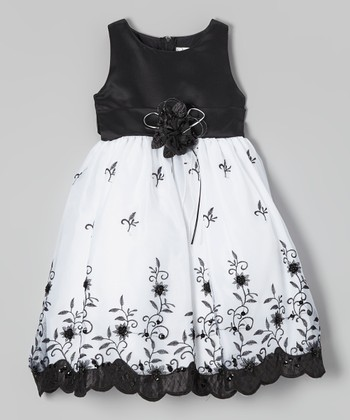 ClassyKidzShop Black & White Floral Embroidered Dress - Toddler & Girls